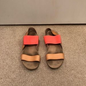 Merona Pink And Tan Slip On Sandals Size 7.5